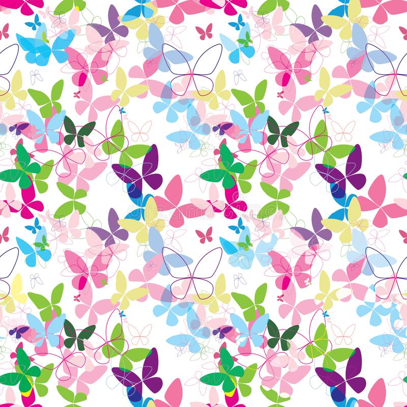 Azul cor-de-rosa sem emenda colorido do teste padrão do vetor da borboleta ilustração royalty free