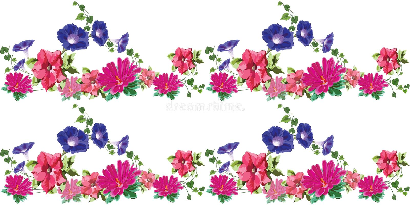 Azul cor-de-rosa sem emenda das flores 3 ilustração royalty free