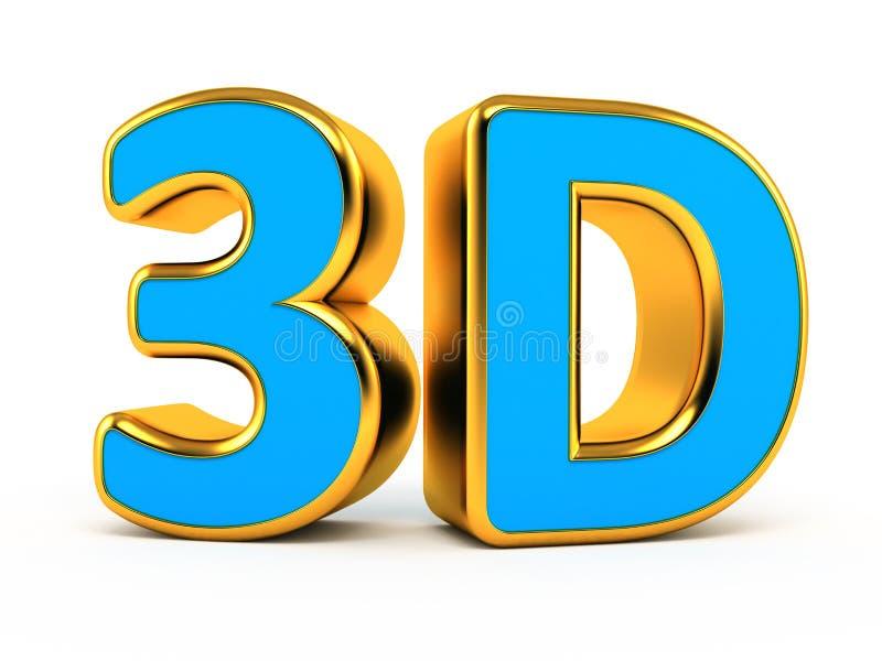 azul 3d com símbolo do ouro ilustração do vetor