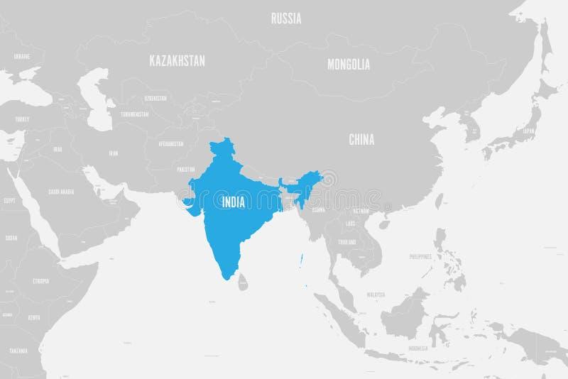 Azul da Índia marcado no mapa político de Ásia do sul Ilustração do vetor ilustração do vetor