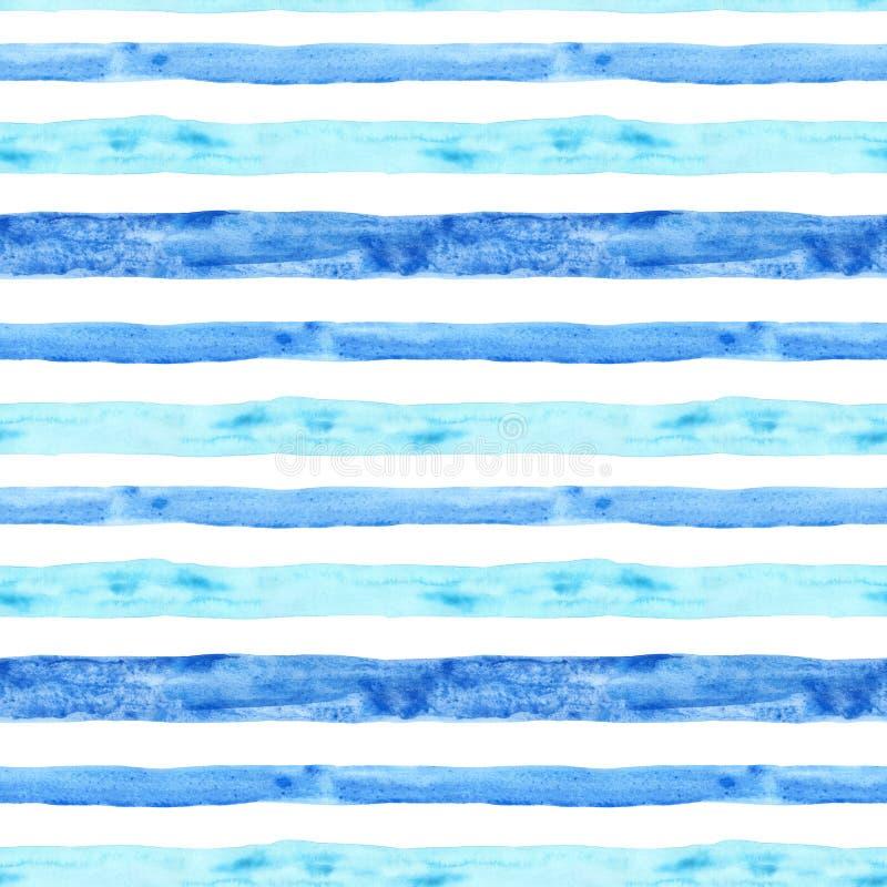 Azul da aquarela e teste padrão sem emenda da listra de turquesa Fundo pintado à mão do verão com listras Cópia marinha náutica, ilustração stock