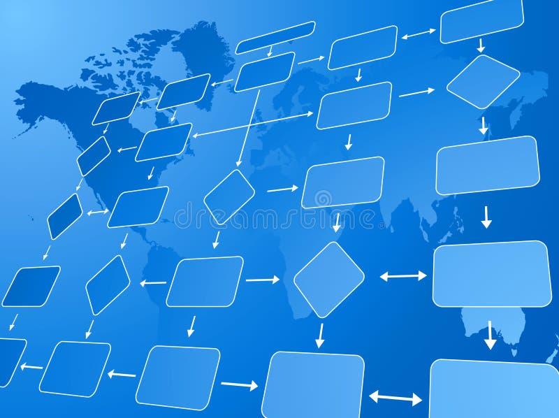 Azul da carta de fluxo do negócio ilustração do vetor