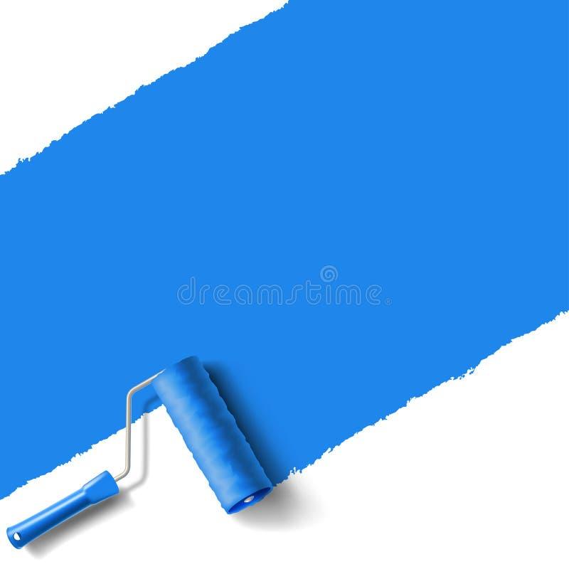 Azul da escova do rolo ilustração royalty free
