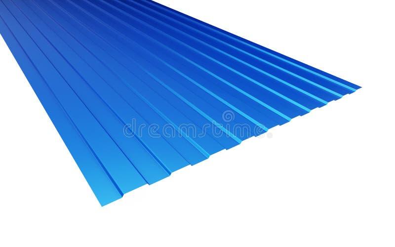 Azul da folha de metal do telhado no fundo branco ilustração do vetor