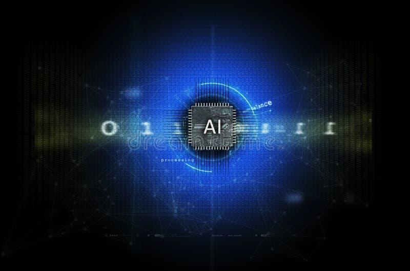 Azul da ilustração da inteligência artificial e da aprendizagem de máquina foto de stock royalty free