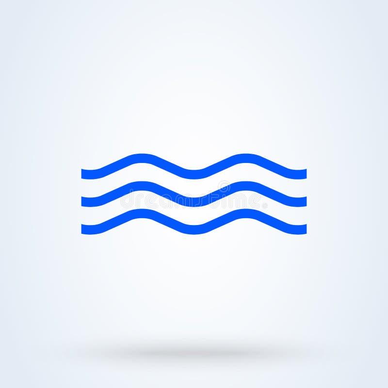Azul da onda de ?gua Ilustração moderna do projeto do ícone do vetor simples ilustração stock