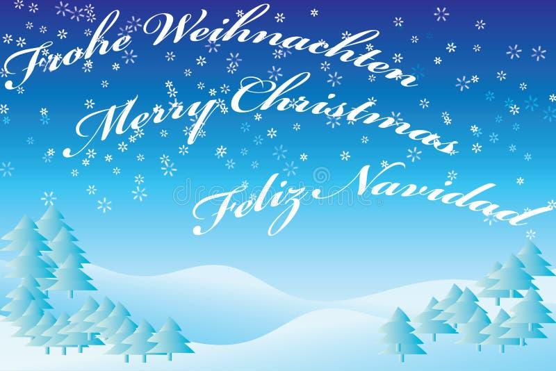 Azul da paisagem do inverno com texto ilustração royalty free