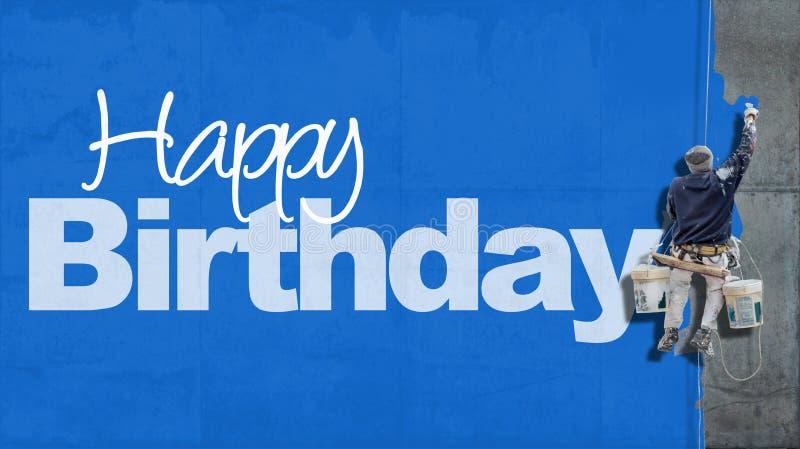 Azul da parede do feliz aniversario imagem de stock