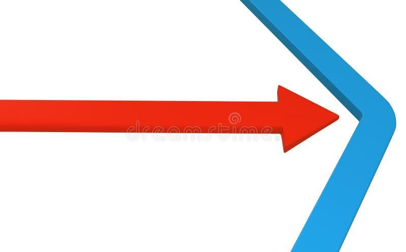 Azul da pressão da seta ilustração stock