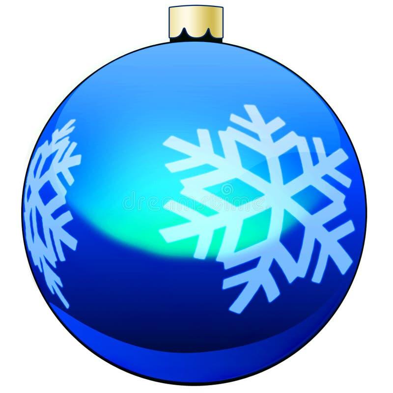 Azul da quinquilharia da decoração da árvore de Natal ilustração royalty free