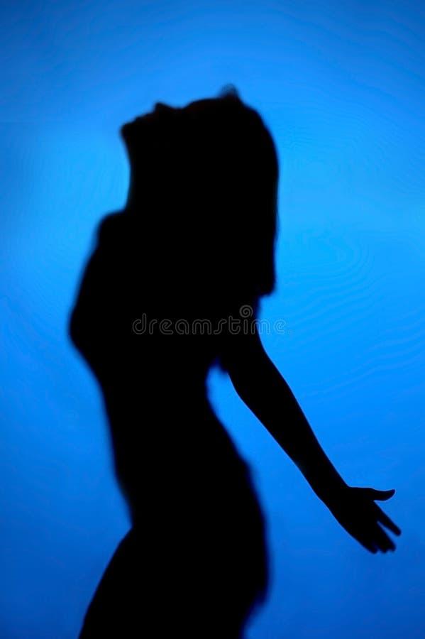 Azul da senhora da silhueta fotos de stock