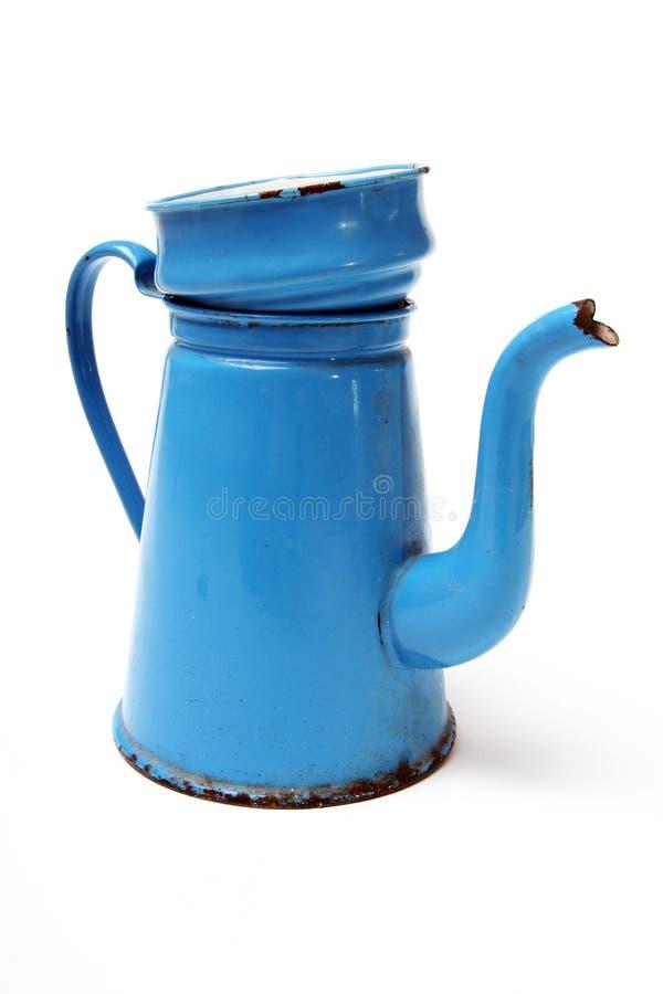 Azul da senhora do potenciômetro do café imagens de stock royalty free