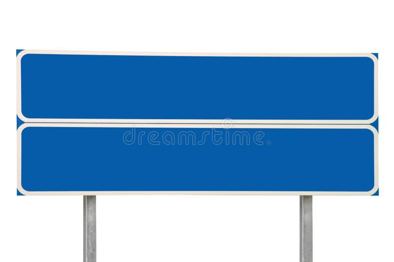 Azul da seta do sinal de estrada dois das estradas transversaas isolado fotografia de stock royalty free