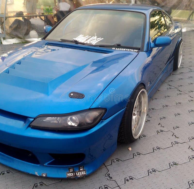 Azul de adaptación del silvia s14 de Nissan en la demostración imagenes de archivo
