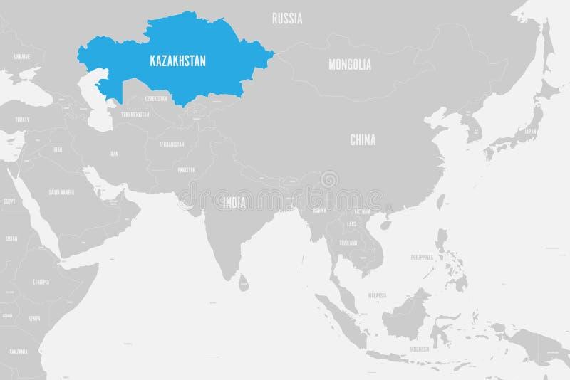 Azul de Cazaquistão marcado no mapa político de Ásia do sul Ilustração do vetor ilustração do vetor