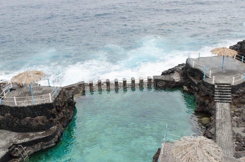 Azul de charco d'EL, piscine bleue, île de Palma de La, Espagne images stock