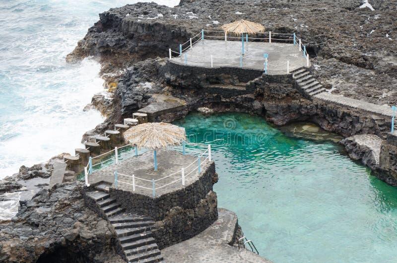 Azul de charco d'EL, piscine bleue, île de Palma de La, Espagne image stock