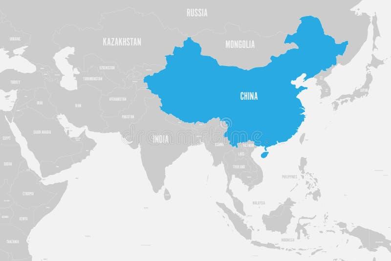 Azul de China marcado no mapa político de Ásia do sul Ilustração do vetor ilustração do vetor
