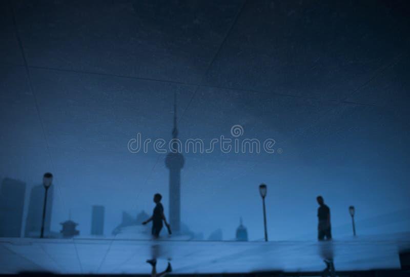 Azul de China de Shangai de la buena mañana fotografía de archivo