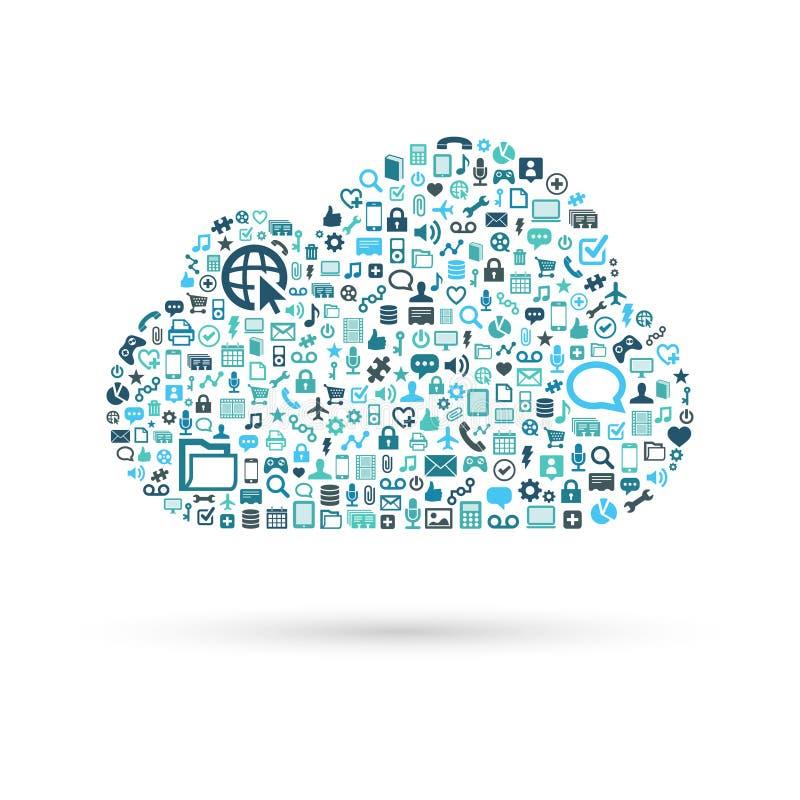 Azul de computação do conceito da nuvem ilustração do vetor