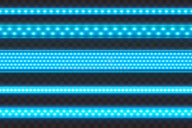 Azul de incandescência conduzido listra o grupo realístico sem emenda da ilustração do vetor Os tipos diferentes conduziram a fes ilustração do vetor