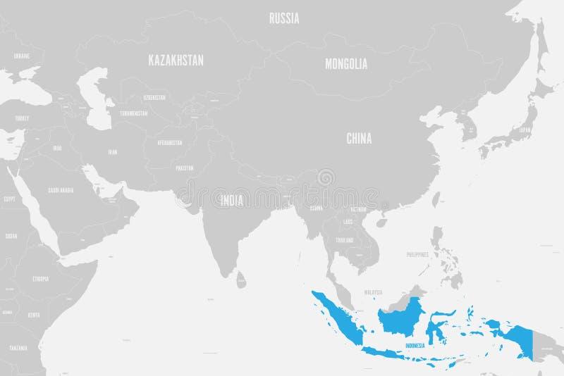 Azul de Indonésia marcado no mapa político de Ásia do sul Ilustração do vetor ilustração do vetor