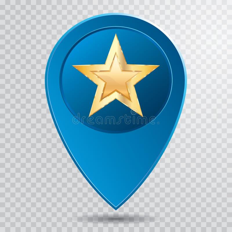 Azul de la estrella del oro del indicador libre illustration