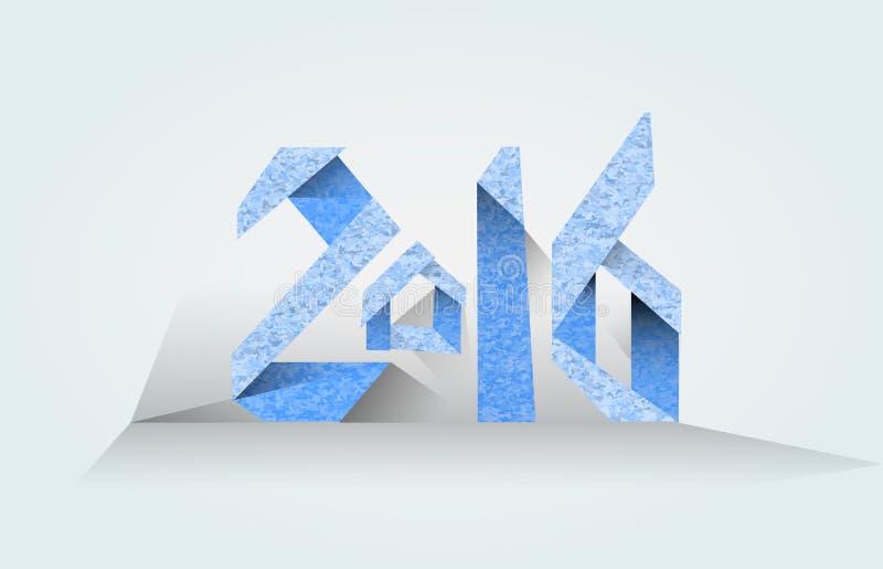 Azul de la inscripción 2016 en un fondo ligero stock de ilustración