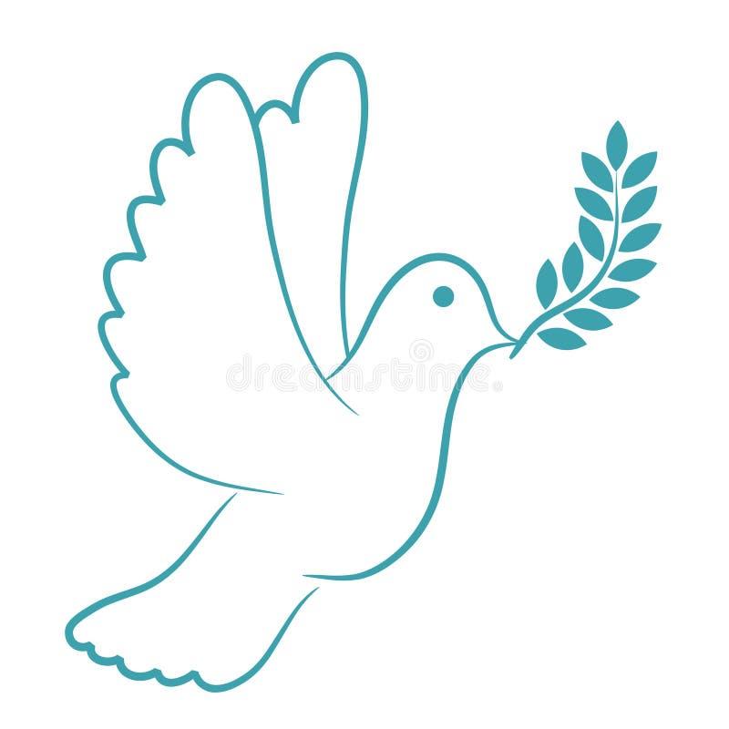 Azul de la paloma de la paz stock de ilustración