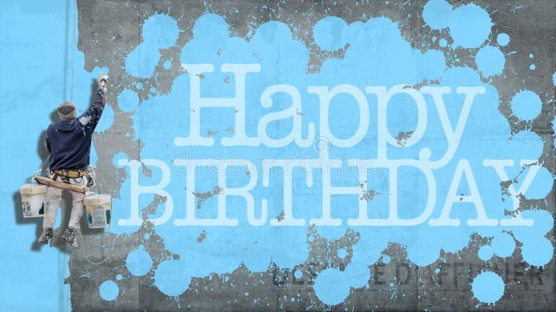 Azul de la pared del feliz cumpleaños foto de archivo libre de regalías