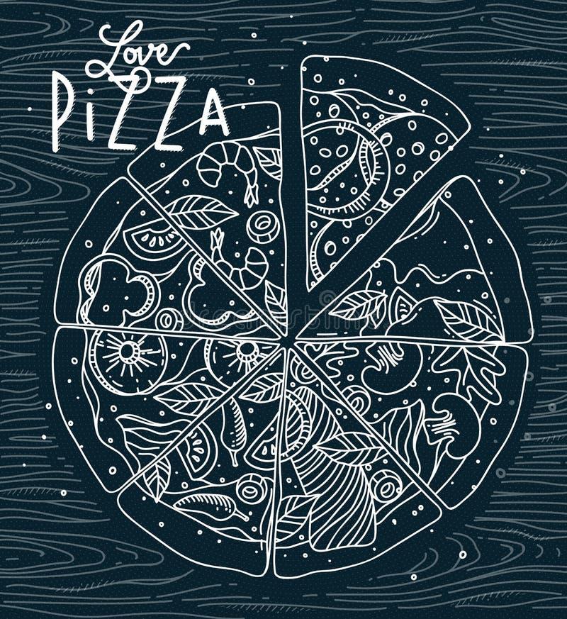 Azul de la pizza del amor del cartel stock de ilustración