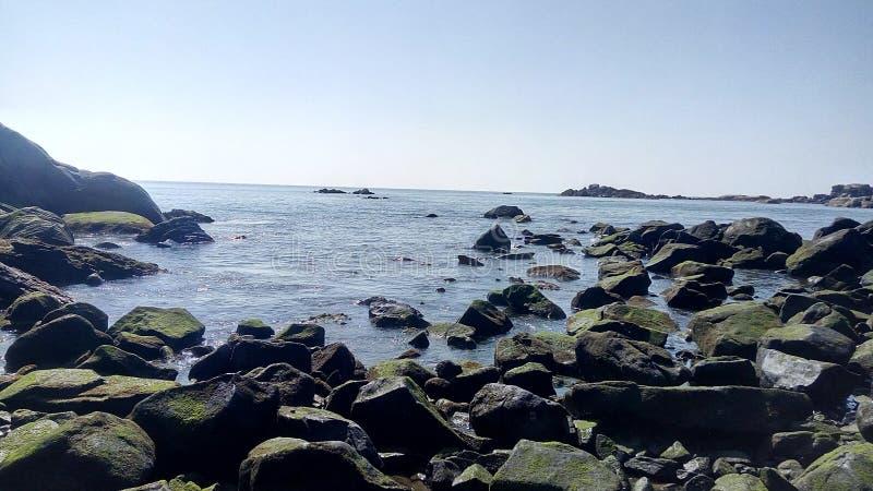 Azul de la playa del mar fotografía de archivo libre de regalías