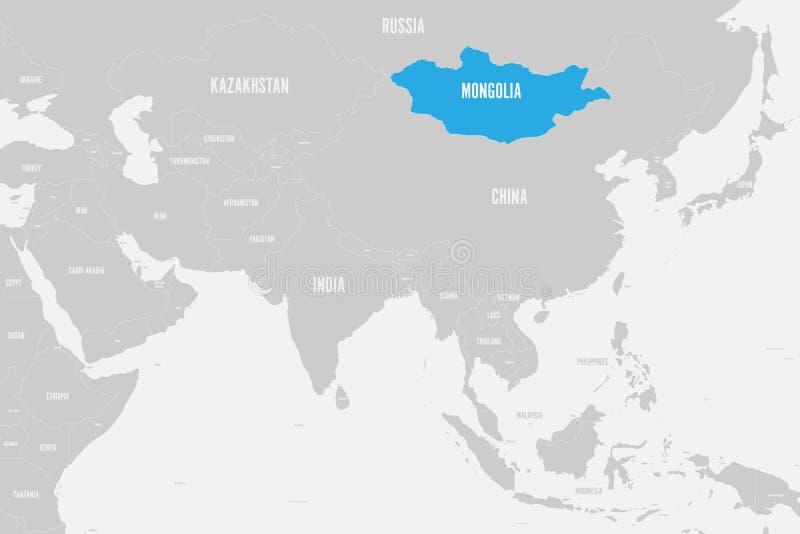 Azul de Mongólia marcado no mapa político de Ásia do sul Ilustração do vetor ilustração stock