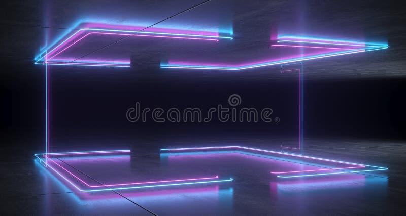 Azul de neón formado soporte futurista de la ciencia ficción y Li que brilla intensamente púrpura stock de ilustración
