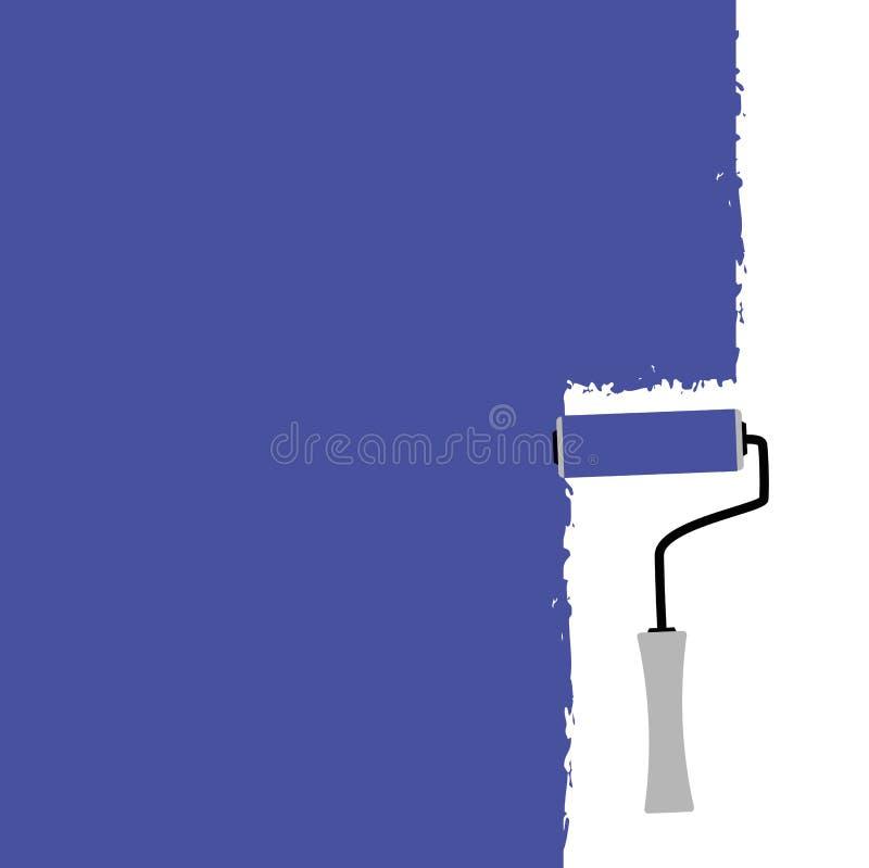 Azul de pintura da escova do rolo ilustração stock