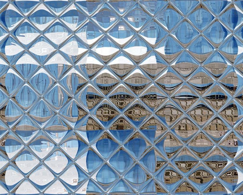 Azul de repetição sem emenda de vidro espelhado da prata do teste padrão da telha ilustração royalty free