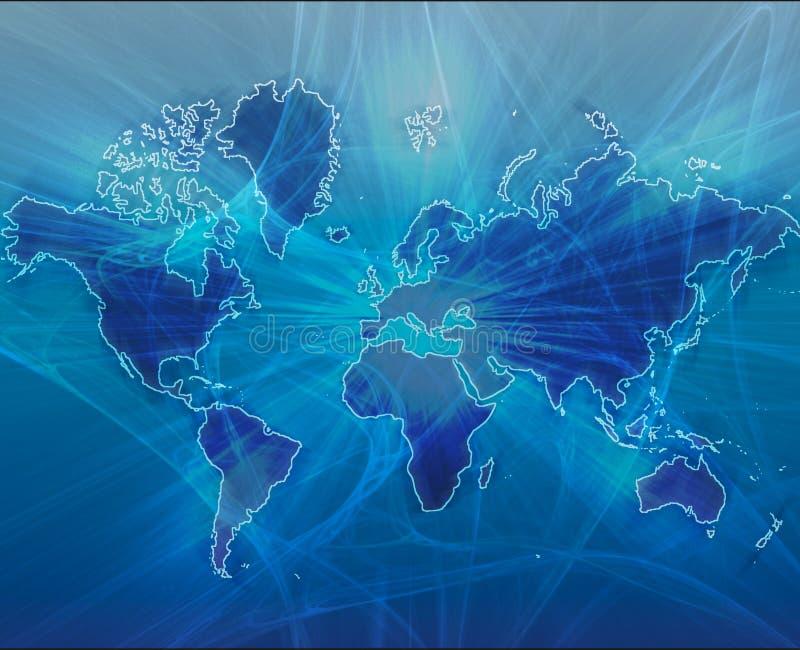 Azul de transferência de dados do mundo ilustração stock