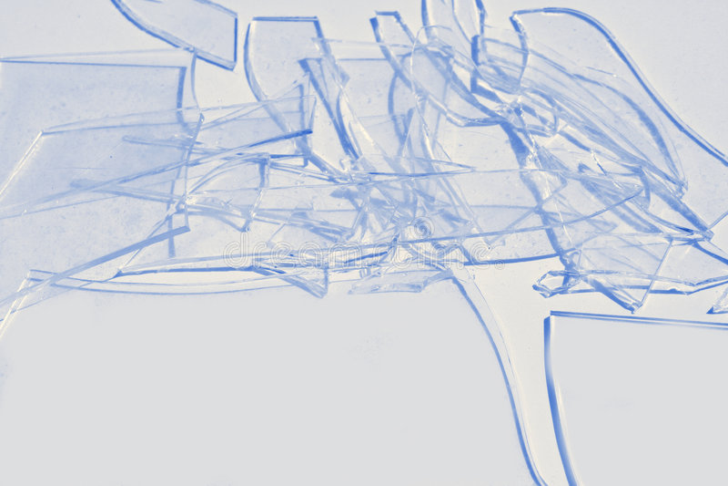 Azul de vidro quebrado fotografia de stock royalty free