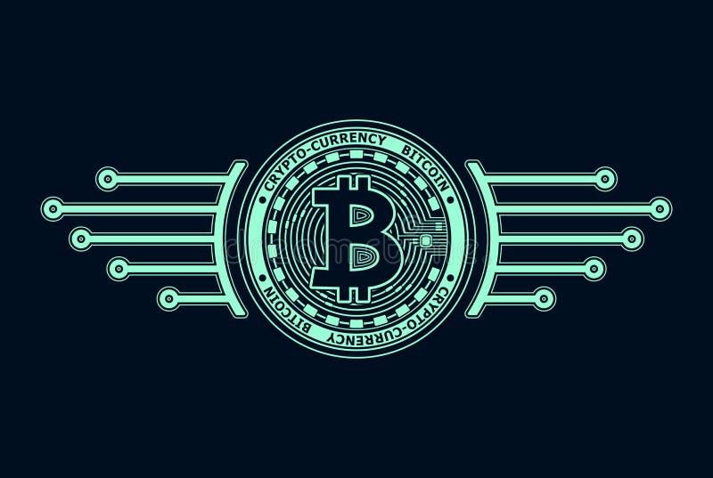 azul del bitcoin de la Crypto-moneda en negro ilustración del vector