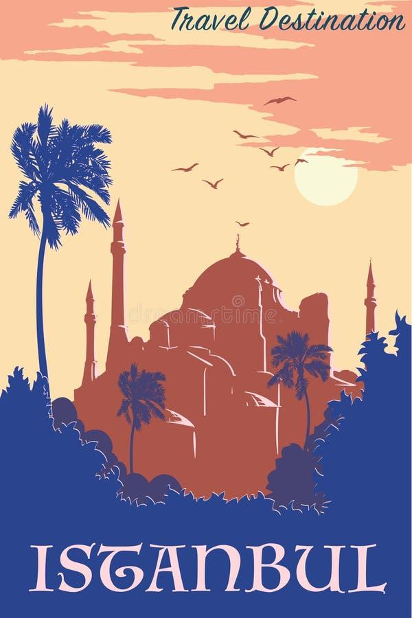 Azul del cartel del vintage de Hagia Sophia libre illustration