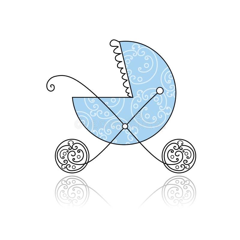 Azul del cochecillo de bebé para su diseño ilustración del vector