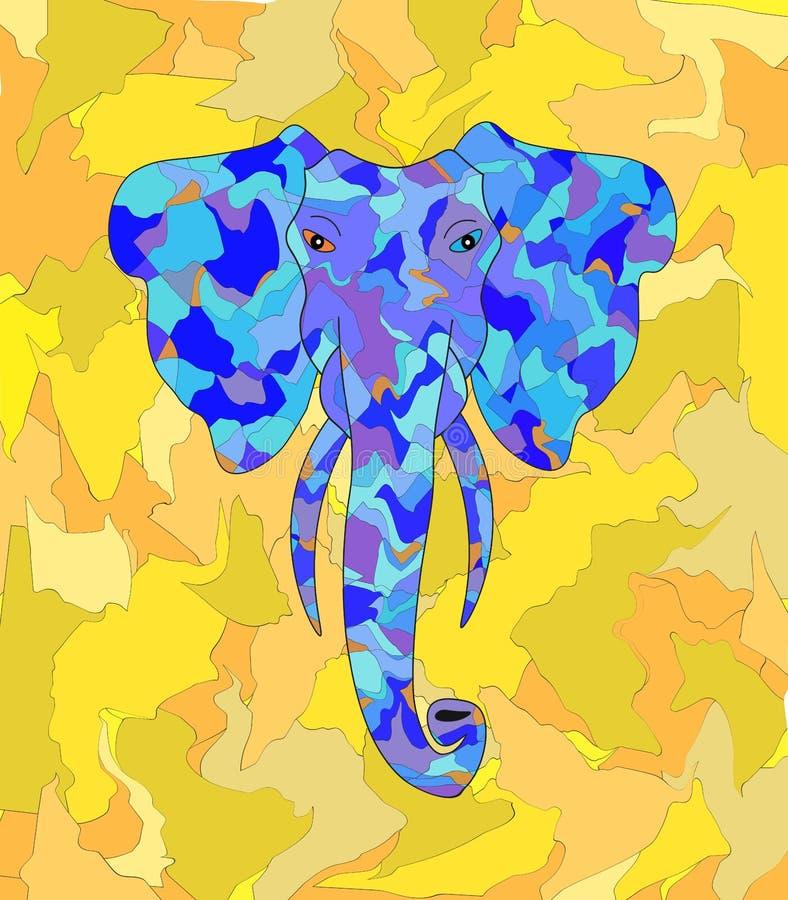 Azul del elefante en fondo amarillo de las hojas de las sombras ilustración del vector