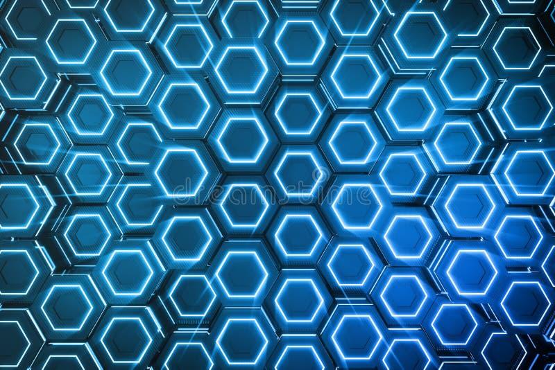 Azul del extracto del modelo superficial futurista del hexágono, panal hexagonal con los rayos ligeros, representación 3D stock de ilustración
