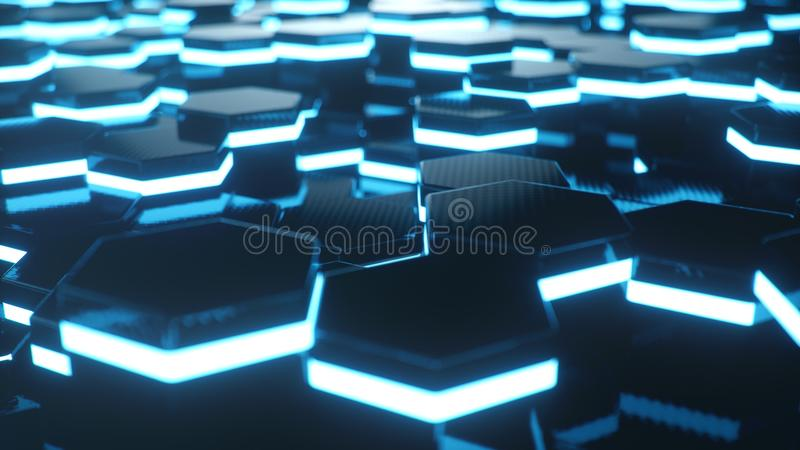 Azul del extracto del modelo superficial futurista del hexágono con los rayos ligeros Fondo abstracto hexagonal geométrico azul 3 imagenes de archivo