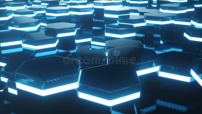 Azul del extracto del modelo superficial futurista del hexágono con los rayos ligeros Fondo abstracto hexagonal geométrico azul 3 imagen de archivo