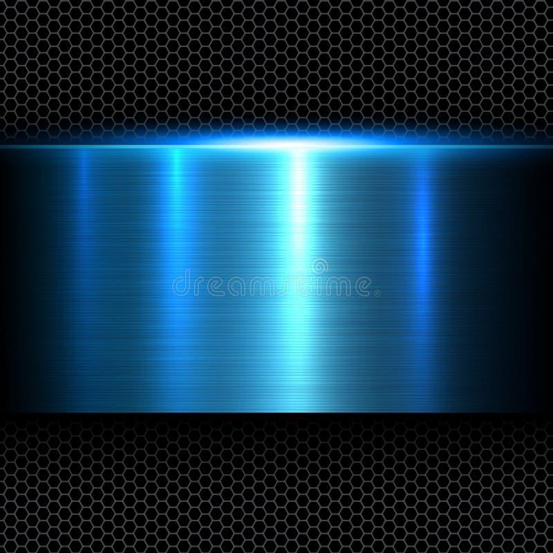 Azul del fondo del metal stock de ilustración