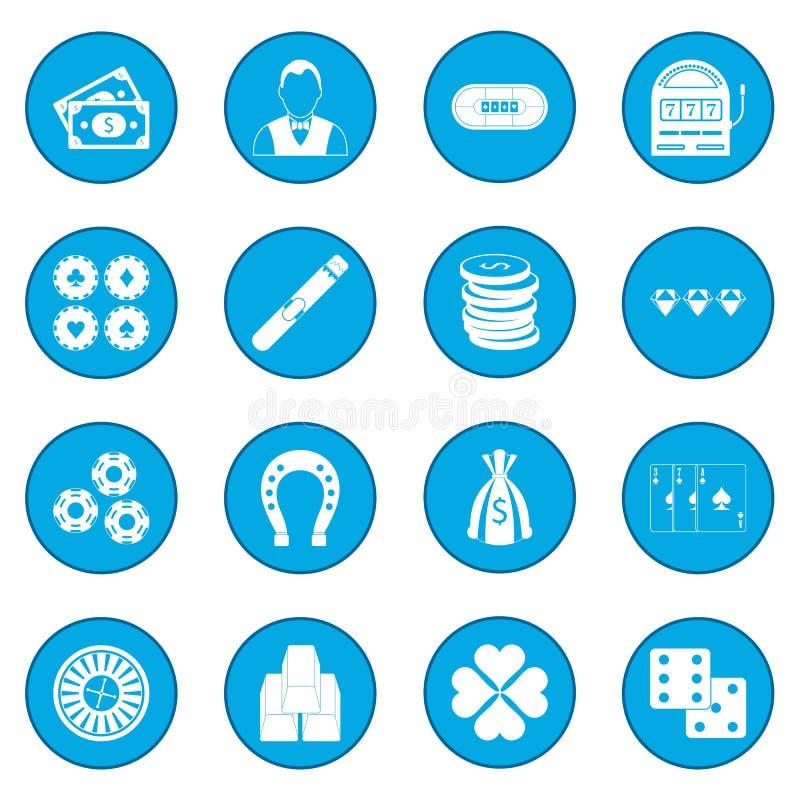 Azul del icono del casino stock de ilustración