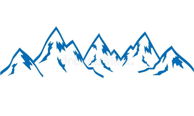 Azul del icono del drenaje de la mano de las montañas de la silueta en el blanco, vector común stock de ilustración