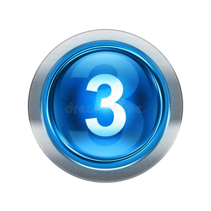 Azul del icono del número tres con el ribete metálico stock de ilustración
