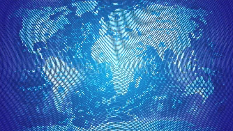 Azul del mosaico del mapa del mundo ilustración del vector